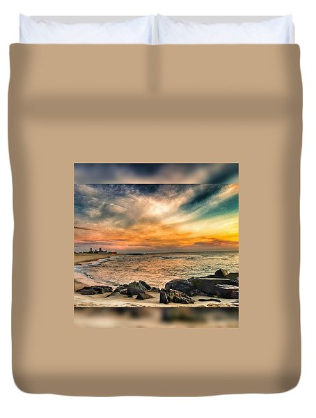 Sunrise On The Jetty Duvet Cover
