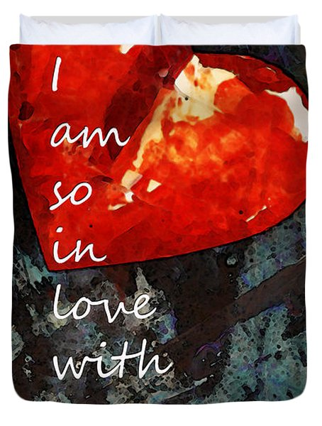 So In Love With You - Romantic Red Heart Painting Duvet Cover by Sharon Cummings