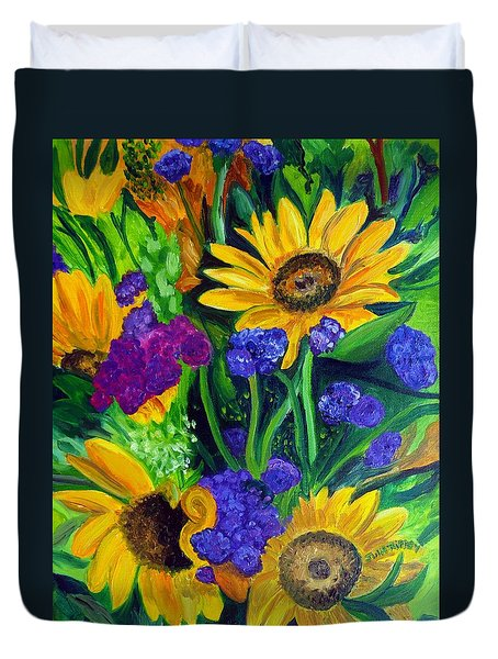 Sunflowers -soaking Up Sunshine Duvet Cover