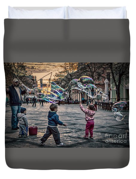 Duvet Cover featuring the photograph Soap Bubbles Evening Play by Jivko Nakev