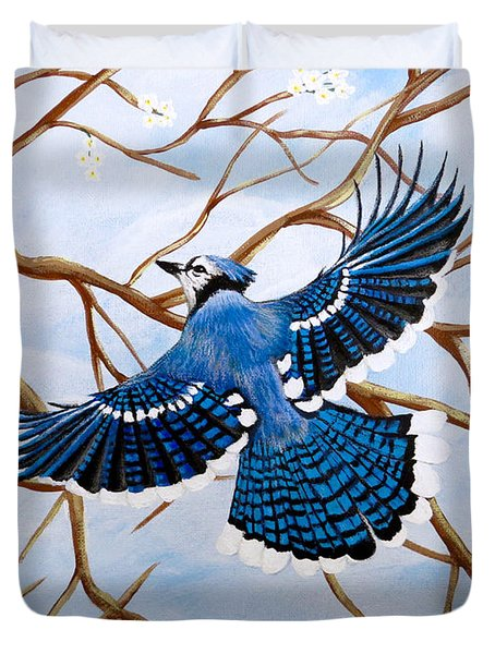 Duvet Cover featuring the painting Soaring Blue Jay  by Teresa Wing