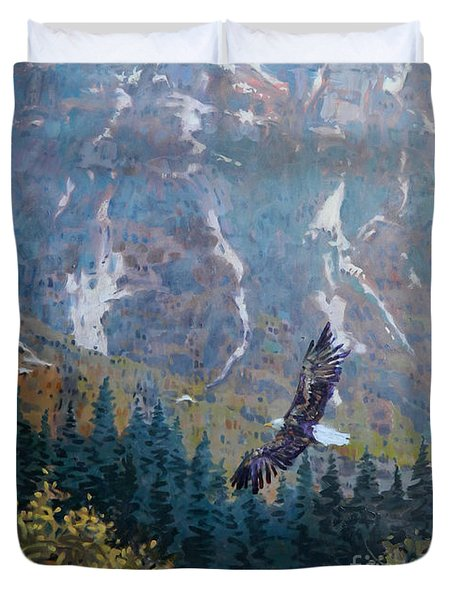 Duvet Cover featuring the painting Soaring Eagle by Donald Maier