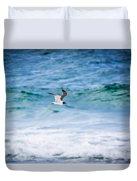 Soaring Over The Ocean Duvet Cover by Shelby Young