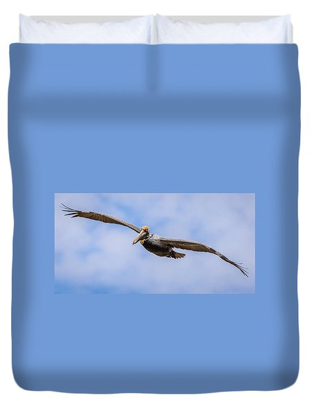 Duvet Cover featuring the photograph Soaring Pelican by Gregory Daley  PPSA