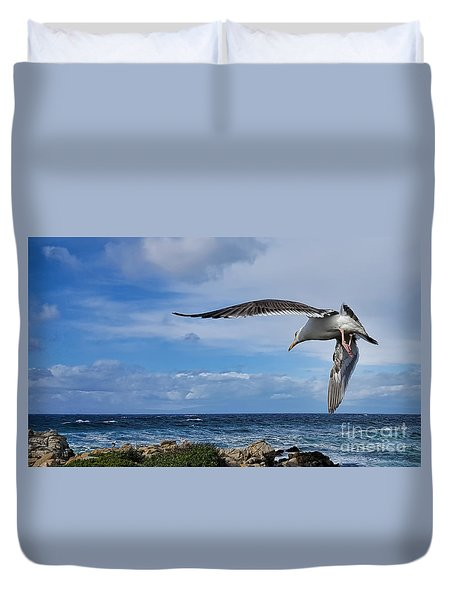 Duvet Cover featuring the photograph Soaring Seagull  by Gina Savage