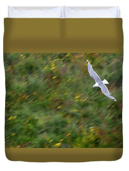 Duvet Cover featuring the photograph Soaring Seagull by Joe Bonita