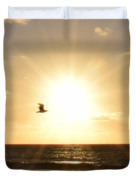 Soaring Seagull Sunset Over Imperial Beach Duvet Cover