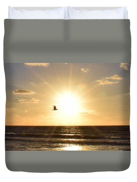 Soaring Seagull Sunset Over Imperial Beach Duvet Cover
