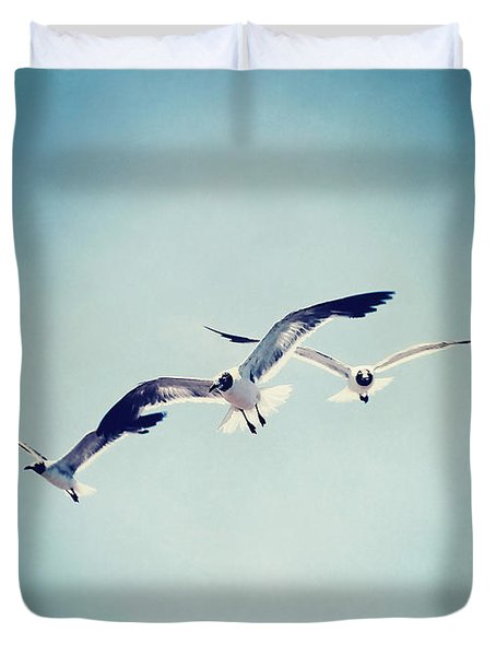 Duvet Cover featuring the photograph Soaring Seagulls by Trish Mistric