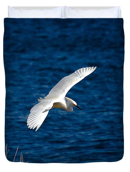 Soaring Snowy Egret  Duvet Cover by DigiArt Diaries by Vicky B Fuller