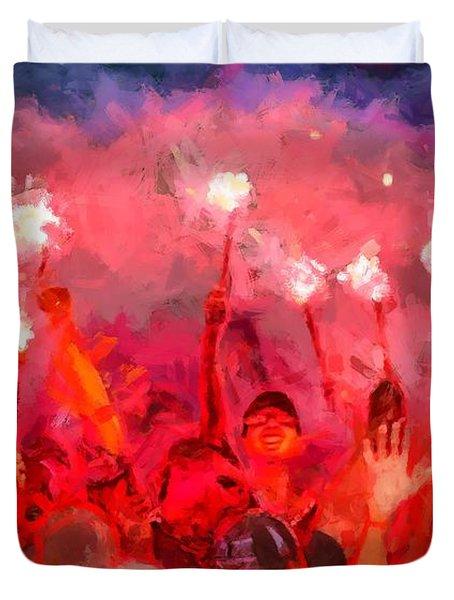 Soccer Fans Pictures Duvet Cover