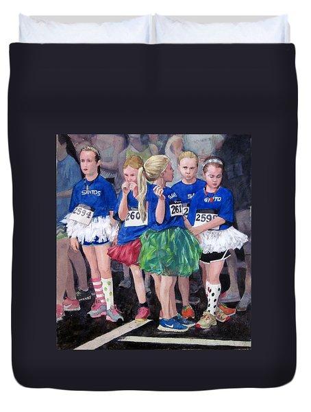 Soccer Girls Duvet Cover by Mark Lunde