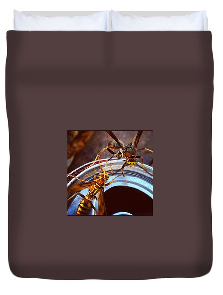 Duvet Cover featuring the photograph Soda Pop Bandits, Two Wasps On A Pop Can  by Shelli Fitzpatrick