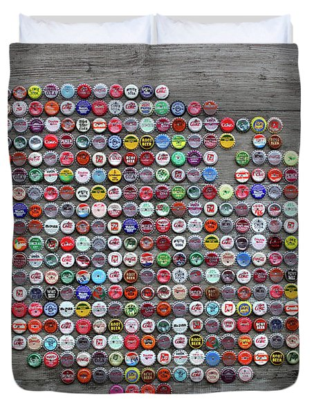 Soda Pop Bottle Cap Map Of The United States Of America Duvet Cover by Design Turnpike