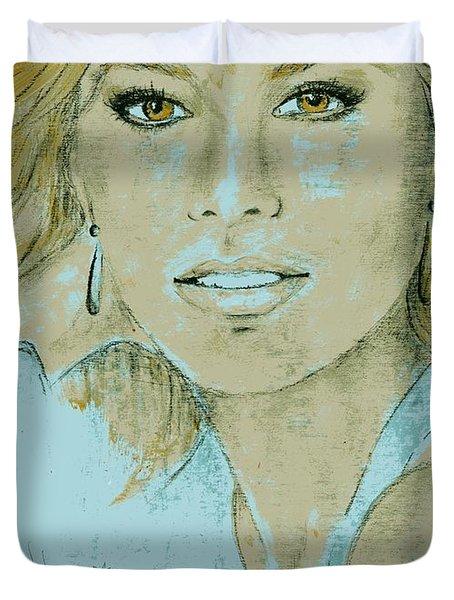 Sofia Vergara Duvet Cover by P J Lewis