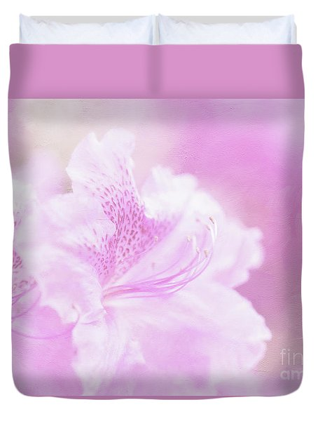 Soft And Lovely Pink Rhododendrons  Duvet Cover