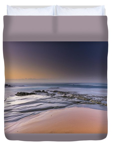 Soft And Rocky Sunrise Seascape Duvet Cover