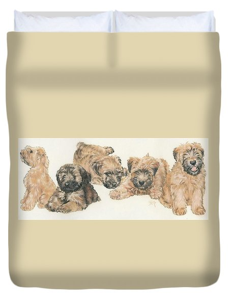 Soft-coated Wheaten Terrier Puppies Duvet Cover by Barbara Keith