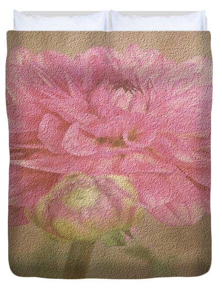 Soft Graceful Pink Painted Dahlia Duvet Cover by Judy Palkimas