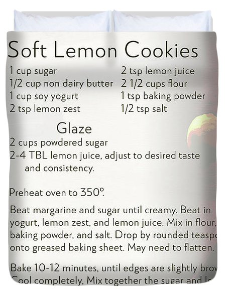 Soft Lemon Cookie Recipe Duvet Cover