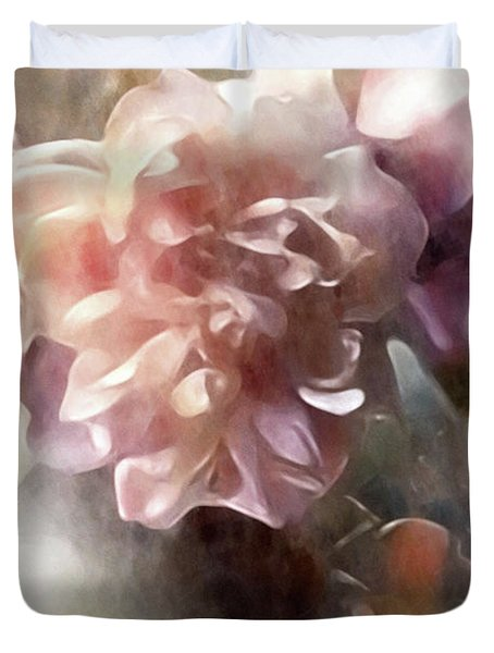 Duvet Cover featuring the mixed media Soft Pastel Peonies by Susan Maxwell Schmidt