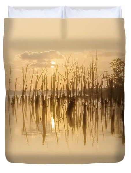 Soft Peach Sunrise At Manasquan Duvet Cover