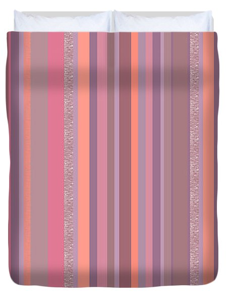 Summer Breeze - Soft Pink And Purple Stripes Duvet Cover