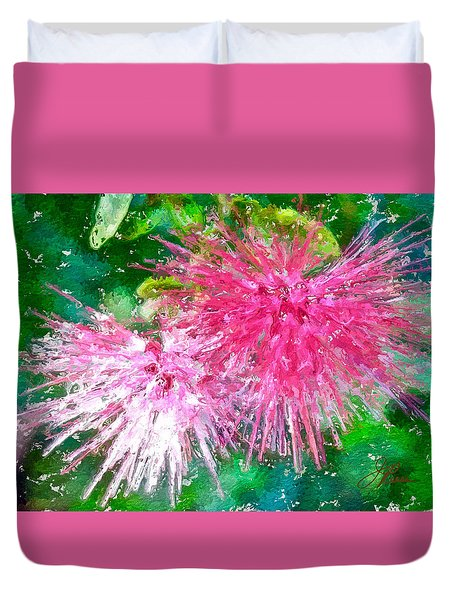 Duvet Cover featuring the painting Soft Pink Flower by Joan Reese
