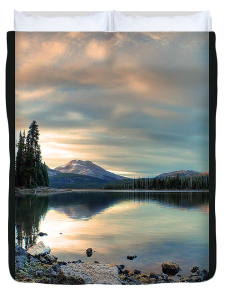 Soft Pink Sky Over Sparks Lake Duvet Cover