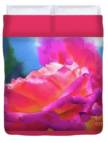 Soft Rose Bloom In Red And Purple Duvet Cover