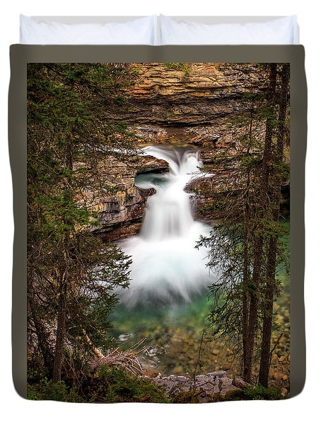 Duvet Cover featuring the photograph Soft Smooth Waterfall by Darcy Michaelchuk