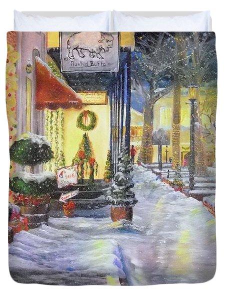 Soft Snowfall In Dahlonega Georgia An Old Fashioned Christmas Duvet Cover