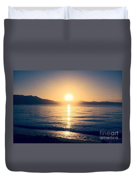 Soft Sunset Lake Duvet Cover