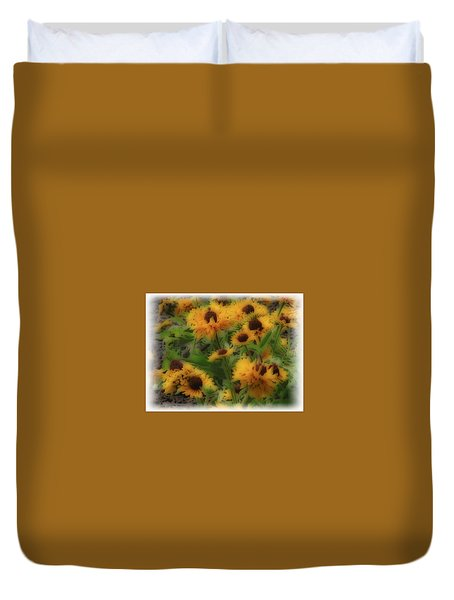 Duvet Cover featuring the photograph Soft Touch Black Eyed Suzy's  by Debra     Vatalaro