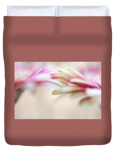 Duvet Cover featuring the photograph Soft Touch. Macro Gerbera by Jenny Rainbow