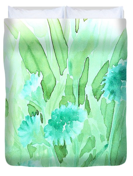 Soft Watercolor Floral Duvet Cover by Judy Palkimas
