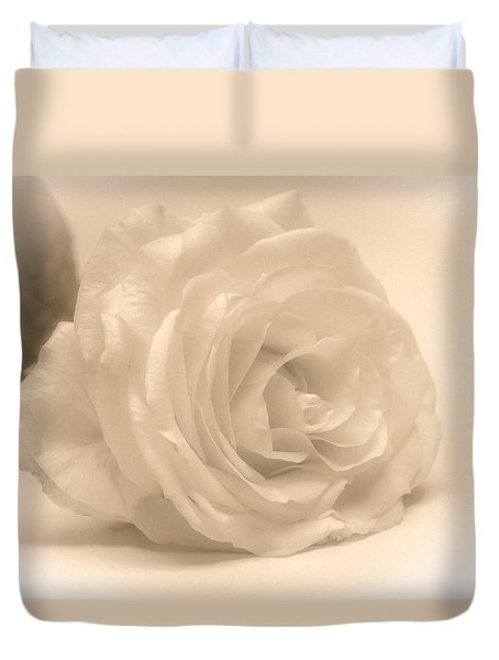 Duvet Cover featuring the photograph Soft White Rose by Scott Carruthers