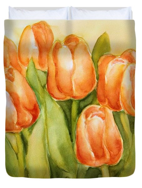 Soft Yellow Spring Tulips Duvet Cover