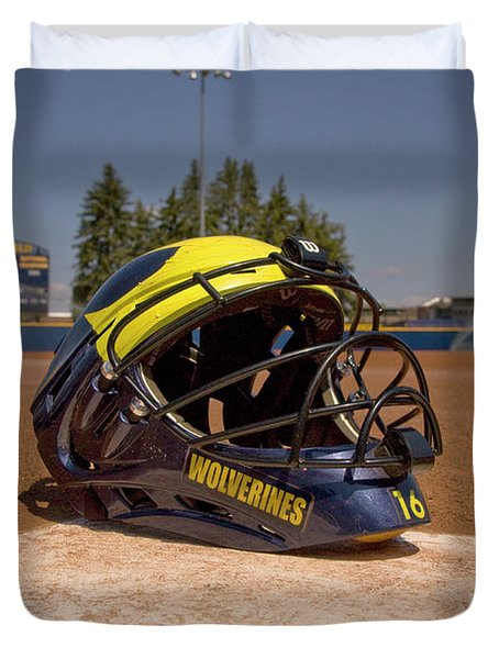 Softball Catcher Helmet Duvet Cover
