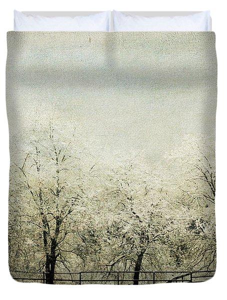 Softly Falling Snow Duvet Cover