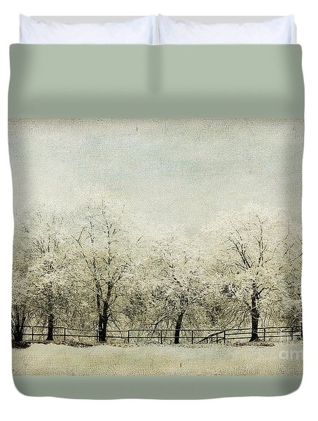 Softly Falling Snow Duvet Cover