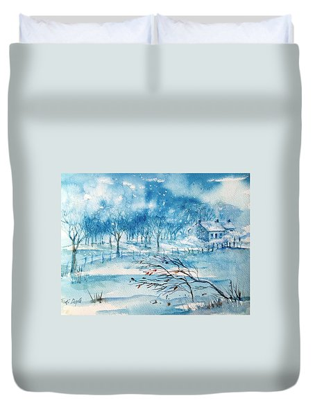 Softly Falling Woodland Snow Duvet Cover