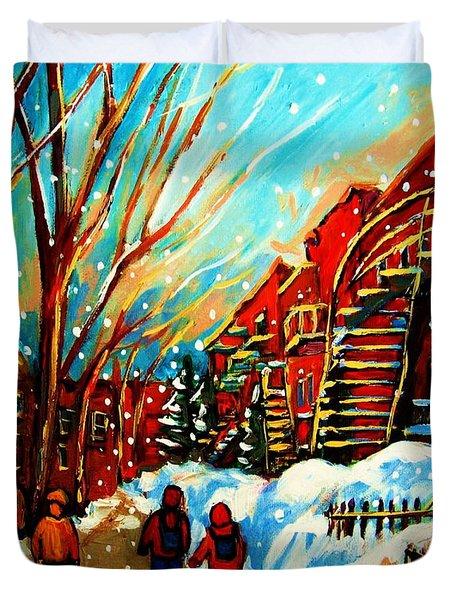 Softly Snowing Duvet Cover by Carole Spandau