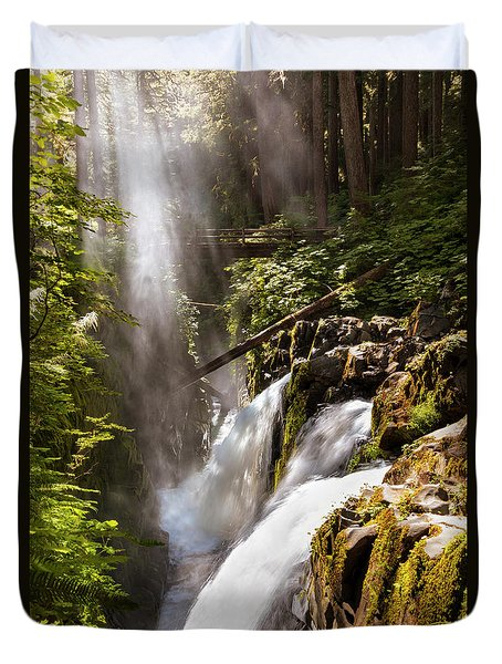 Duvet Cover featuring the photograph Sol Duc Falls by Adam Romanowicz