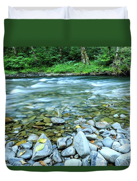 Sol Duc River In Summer Duvet Cover