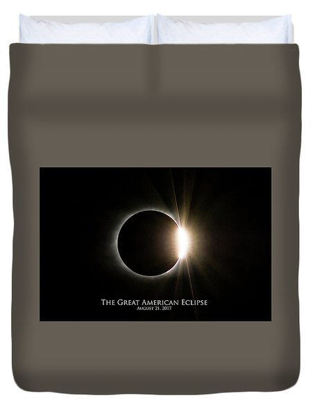 Duvet Cover featuring the photograph Solar Eclipse Diamond Ring With Text by Lori Coleman