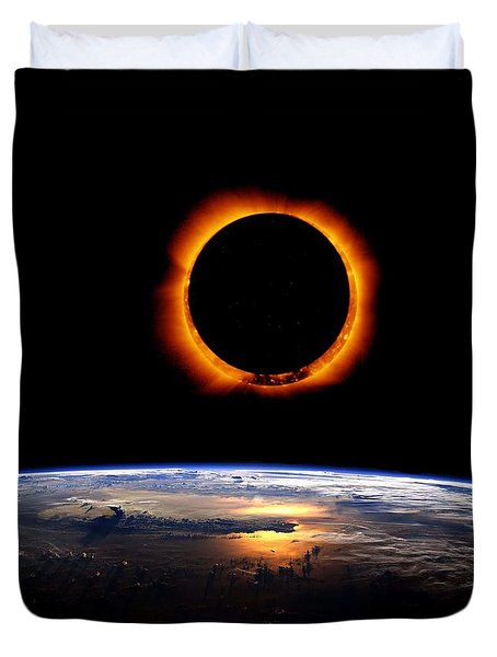 Solar Eclipse From Above The Earth 2 Duvet Cover