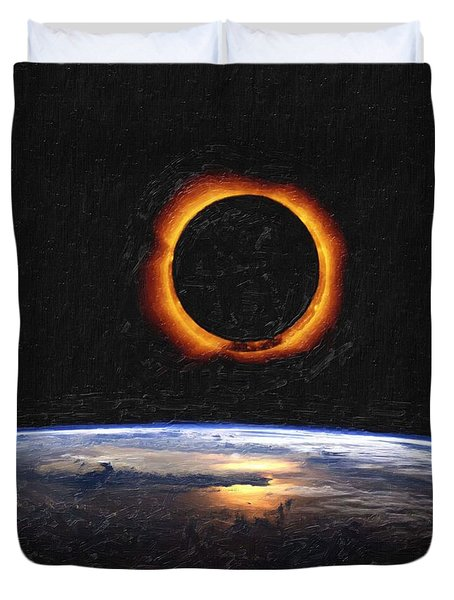 Solar Eclipse From Above The Earth Painting Duvet Cover