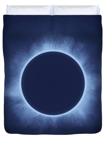Solar Eclipse In Deep See Colors Duvet Cover