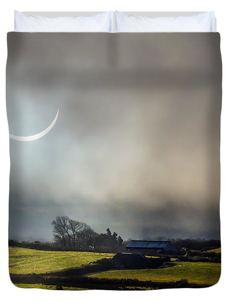 Solar Eclipse Over County Clare Countryside Duvet Cover